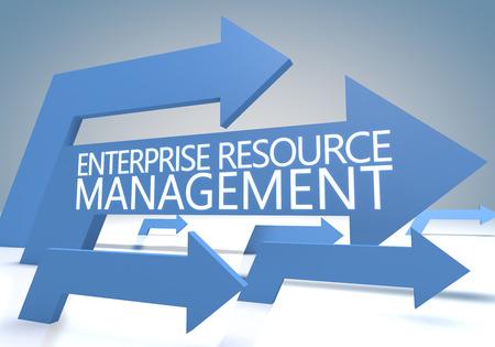 Enterprise Resource Management 3d render concept with blue arrows on a bluegrey background.