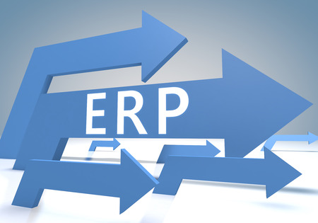 Enterprise Resource Planning 3d render concept with blue arrows on a bluegrey background. photo
