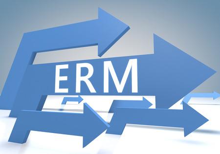 Enterprise RiskResource Managament 3d render concept with blue arrows on a bluegrey background.