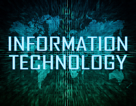 interconnected: Information Technology text concept on green digital world map background