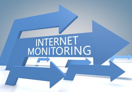 Internet Monitoring 3d render concept with blue arrows on a bluegrey background. photo