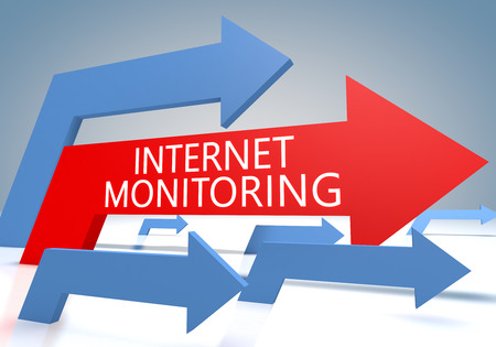 Internet Monitoring 3d render concept with blue and red arrows on a bluegrey background.