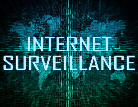 Internet Surveillance text concept on green digital world map background  photo