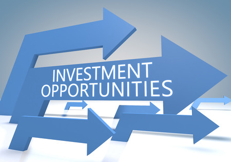 fonds: Investment Opportunities 3d render concept with blue arrows on a bluegrey background.