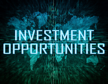 fonds: Investment Opportunities text concept on green digital world map background