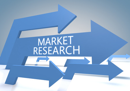 developmental: Market Research 3d render concept with blue arrows on a bluegrey background.