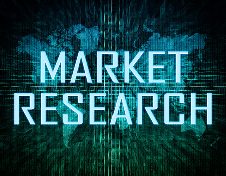 developmental: Market Research text concept on green digital world map background  Stock Photo