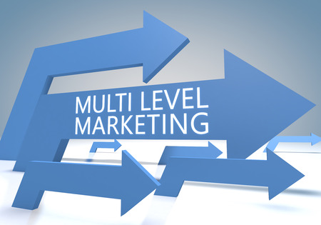 mlm: Multi Level Marketing 3d render concept with blue arrows on a bluegrey background. Stock Photo