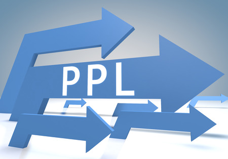 Pay per Lead 3d render concept with blue arrows on a bluegrey background. photo