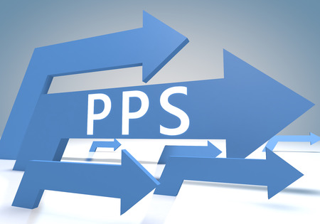 Pay per Sale 3d render concept with blue arrows on a bluegrey background. photo