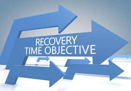 Recovery Time Objective 3d render concept with blue arrows on a bluegrey background.