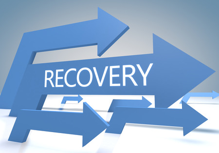 Recovery 3d render concept with blue arrows on a bluegrey background. photo