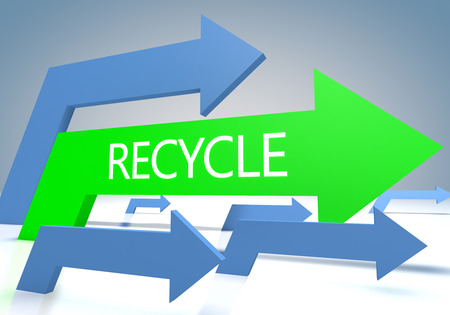 Recycle 3d render concept with green and blue arrows on a bluegrey background. photo