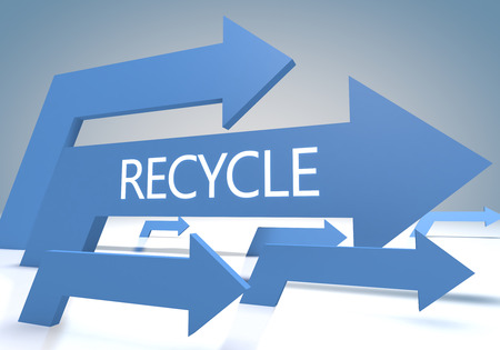 Recycle 3d render concept with blue arrows on a bluegrey background. photo