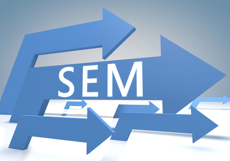 emarketing: Search Engine Marketing 3d render concept with blue arrows on a bluegrey background. Stock Photo