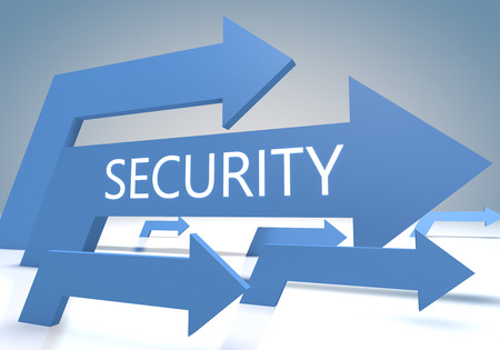Security 3d render concept with blue arrows on a bluegrey background. photo