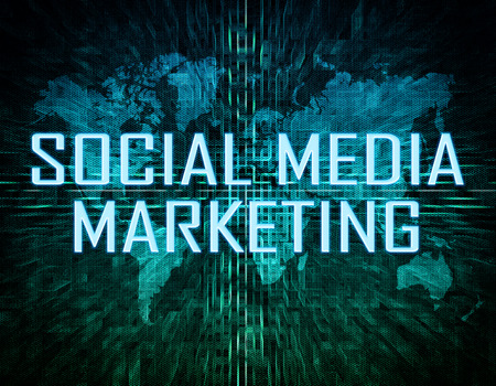 smm: Social Media Marketing text concept on green digital world map background