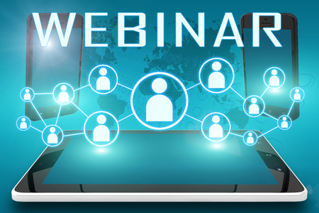 Webinar - text illustration with social icons and tablet computer and mobile cellphones on cyan digital world map background