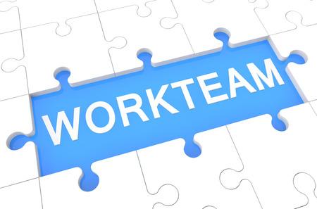 workteam: Workteam - puzzle 3d render illustration with word on blue background