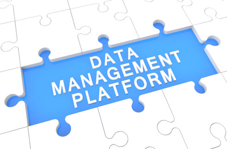 unify: Data Management Platform - puzzle 3d render illustration with word on blue background Stock Photo