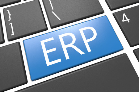 ERP - Enterprise Resource Planing - keyboard 3d render illustration with word on blue key illustration