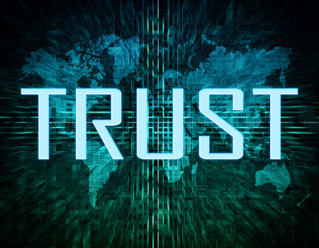 dependable: Trust text concept on green digital world map background