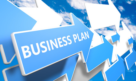 Business Plan 3d render concept with blue and white arrows flying in a blue sky with clouds photo