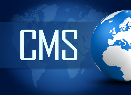 CMS - Content Management System concept with globe on blue world map background photo
