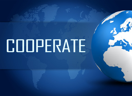 cooperate: Cooperate concept with globe on blue world map background Stock Photo