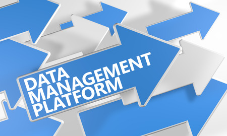 unify: Data Management Platform 3d render concept with blue and white arrows flying over a white background.