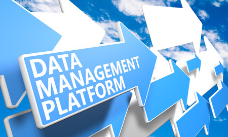 unify: Data Management Platform 3d render concept with blue and white arrows flying in a blue sky with clouds Stock Photo