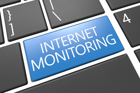 spying: Internet Monitoring - keyboard 3d render illustration with word on blue key Stock Photo