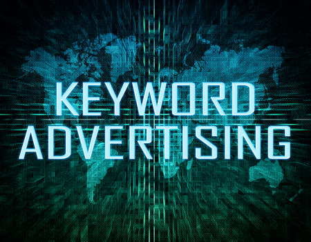 keyword: Keyword Advertising text concept on green digital world map background