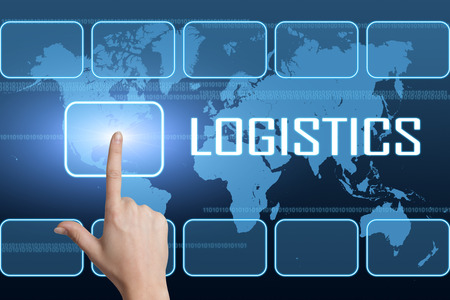 warehousing: Logistics concept with interface and world map on blue background Stock Photo