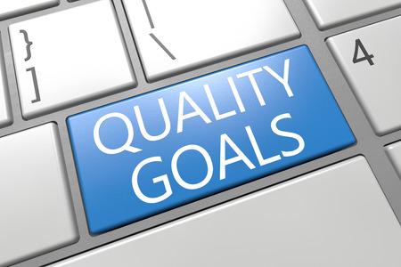 Quality Goals - keyboard 3d render illustration with word on blue key illustration
