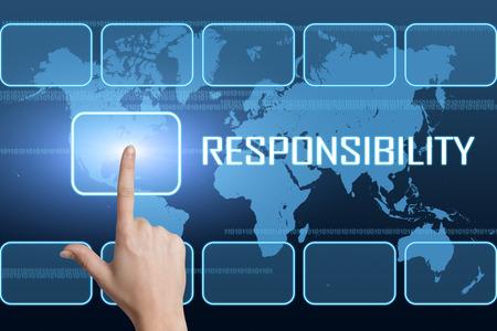 青い背景のインターフェイスと世界地図と責任の概念