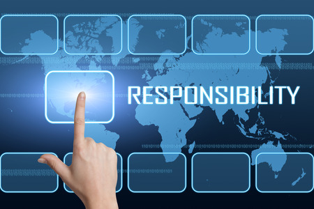 Responsibility concept with interface and world map on blue background photo