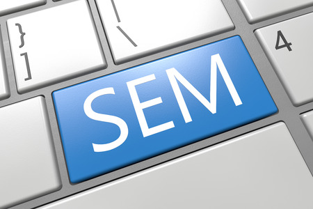 sem: SEM - Search Engine Marketing - keyboard 3d render illustration with word on blue key Stock Photo