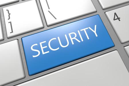Security - keyboard 3d render illustration with word on blue key illustration
