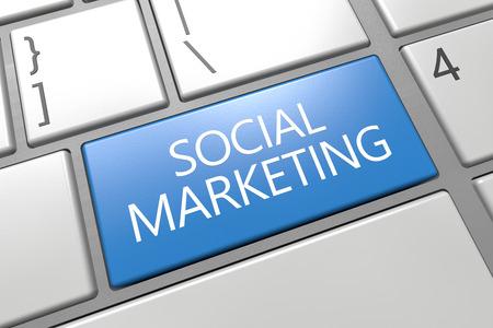Social Marketing - keyboard 3d render illustration with word on blue key illustration