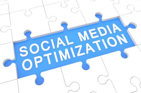 Social Media Optimization - puzzle 3d render illustration with word on blue background illustration
