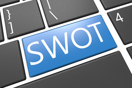 SWOT for strengths, weaknesses, opportunities and threats  - keyboard 3d render illustration with word on blue key Stock Photo