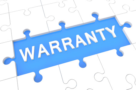 Warranty - puzzle 3d render illustration with word on blue background illustration