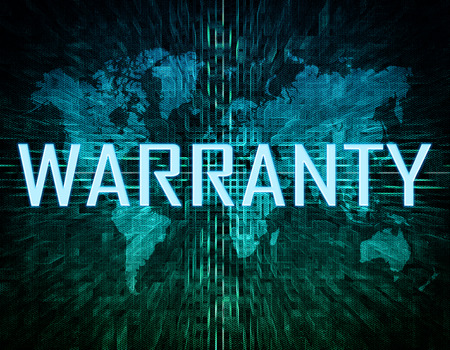 Warranty text concept on green digital world map background  photo
