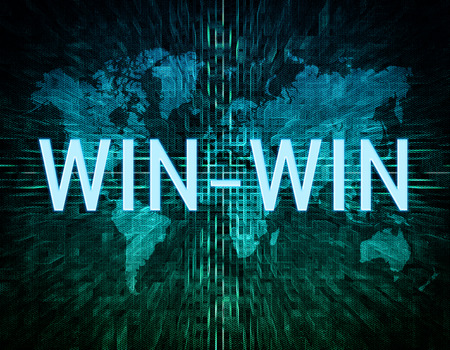 Win-Win text concept on green digital world map background  photo