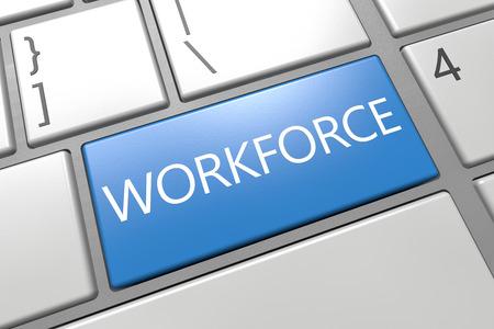 Workforce - keyboard 3d render illustration with word on blue key illustration