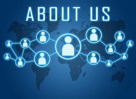 About us concept on blue background with world map and social icons.