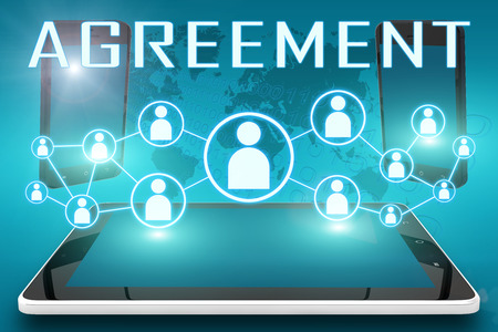 concur: Agreement - text illustration with social icons and tablet computer and mobile cellphones on cyan digital world map background Stock Photo