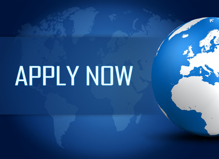 Apply now concept with globe on blue background photo