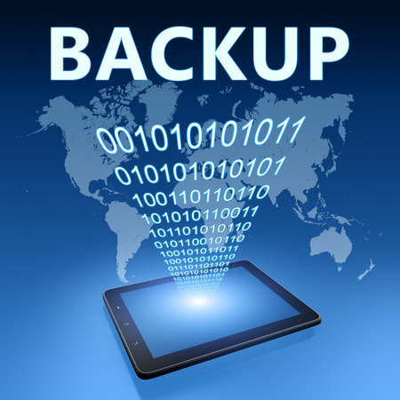 data transfer: Backup illustration with tablet computer on blue background Stock Photo